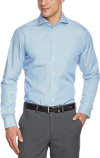 Arrow - Camisa slim fit a rayas con cuello italiano de manga larga para hombre, Azul (13), 37: Amazon.es: Ropa y accesorios