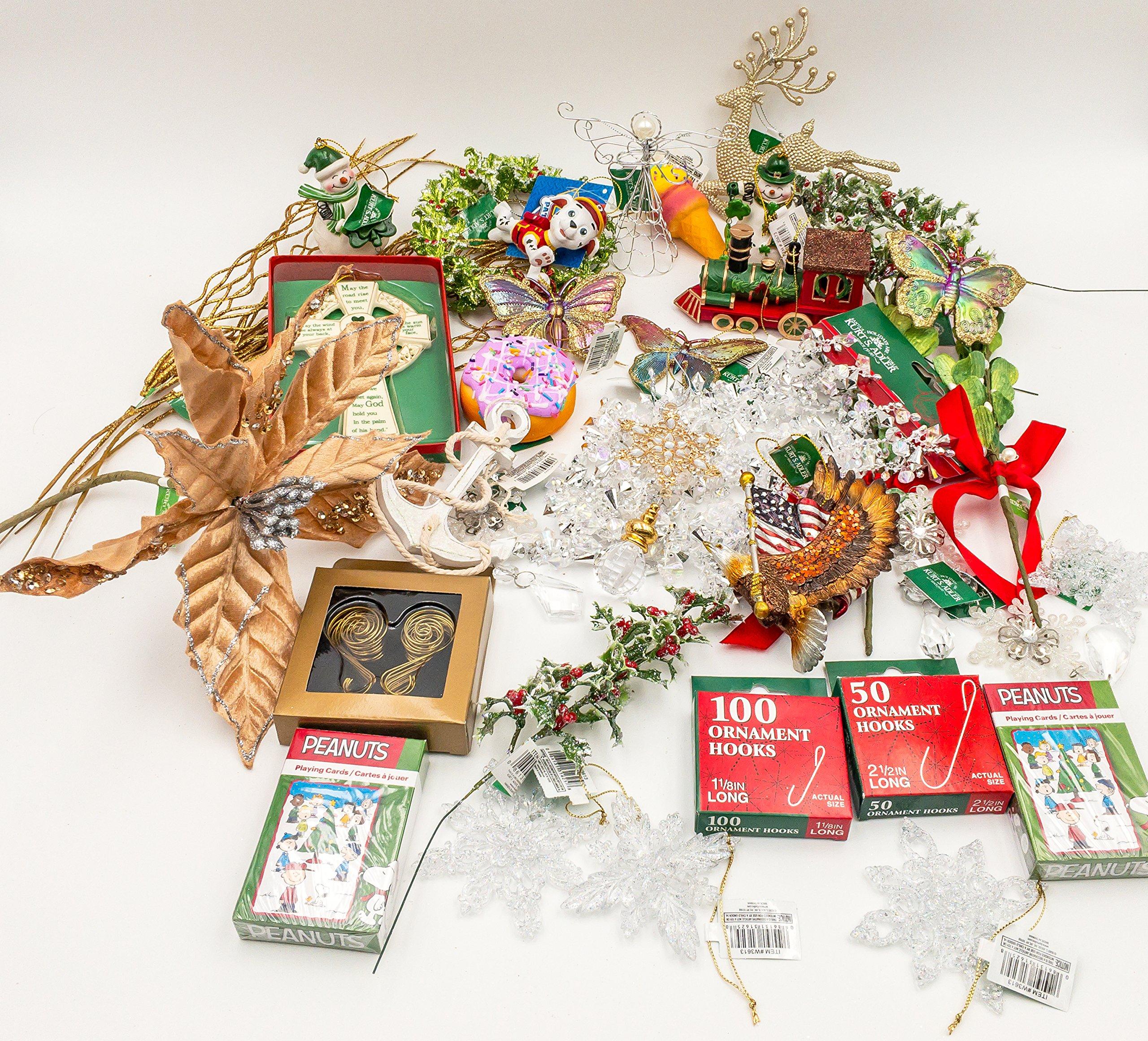 JZ Bundles Starter Set - Best of Christmas Option C - Kurt Adler - 37-Piece Bundle - A Bundle of Christmas Ornaments Great Gift