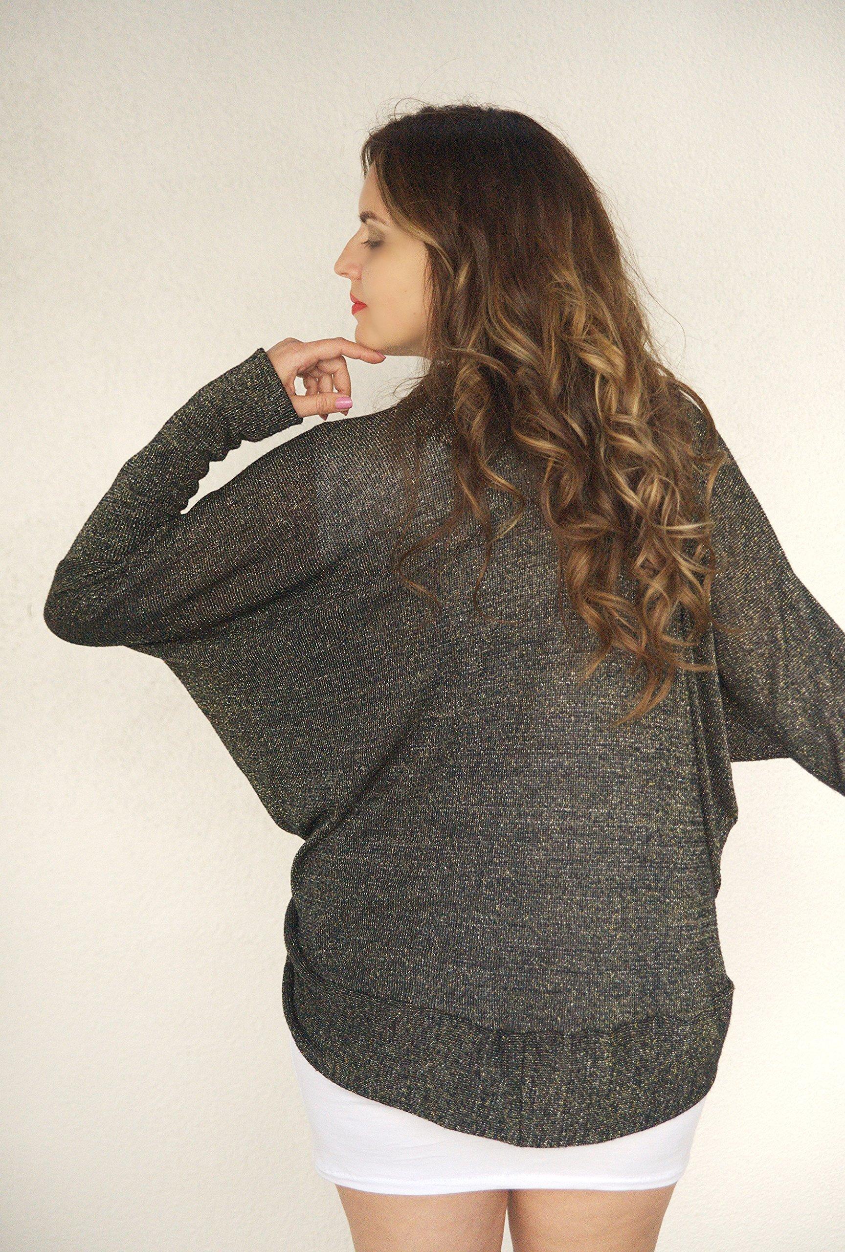 Super Cozy Black Gold Silver Shawl Kimono Cardigan, Metallic Sweater, Street Kimono, Special Occasion Cardigan Sweater. ONE Size (S-XL)