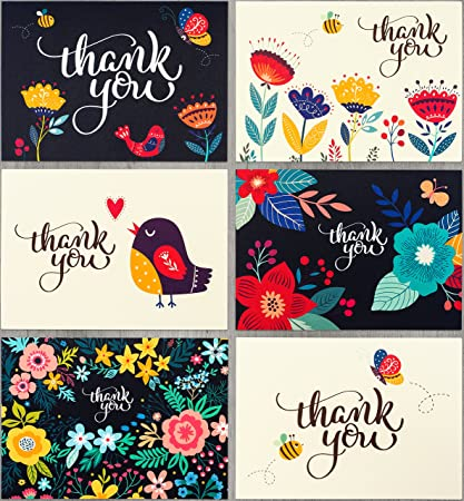 Amazon thank you cards bulk 36 floral thank you notes thank you cards bulk 36 floral thank you notes blank note cards with envelopes reheart Choice Image