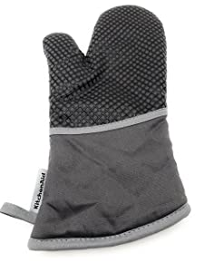 KitchenAid Cotton Oven Mitt, Microfiber Lined, Printed Grid Silicone Grips (Charcoal)