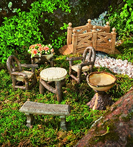 Plow U0026 Hearth Miniature Garden Woodland Outdoor Fairy Furniture Set With  Chairs, Table, Bench