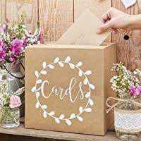 Ginger Ray Sturdy Wedding Day Card Box Natural Kraft with White Text Post Box Rustic Country