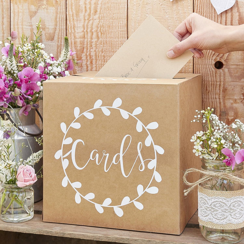 Ginger Ray robusta scatola di matrimonio–Natural Kraft bianco con testo post box–rustico Country