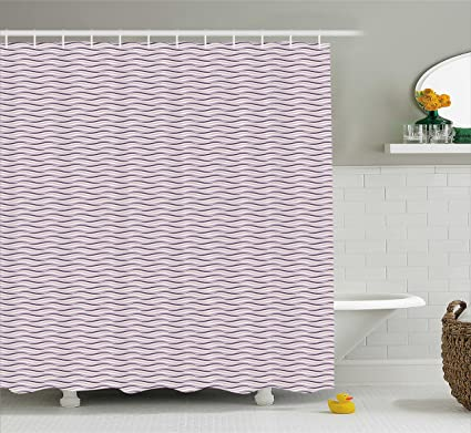Ambesonne Eggplant Shower Curtain Circle Round Edged Sea Wave Like Image In Purple Tones Art