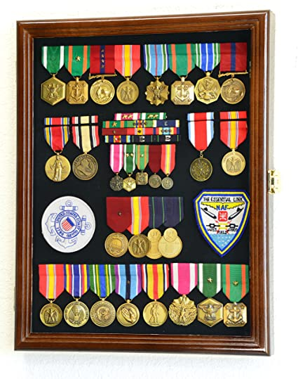 Military Medals, Pins, Patches, Insignia, Ribbons, Flag Display Case  Cabinet, Walnut