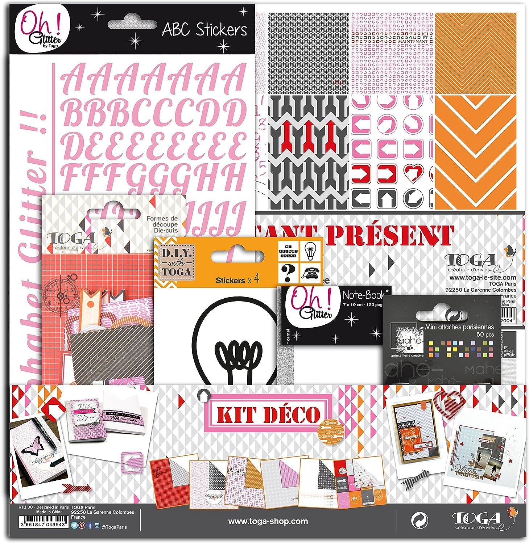 Multicolore 31 x 32 x 1 cm Toga KTU30 Kit de Scrapbooking Vivre lInstant Pr/ésent Papier
