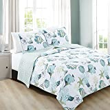 3-Piece Coastal Beach Theme Quilt Set with Shams. Soft All-Season Luxury Microfiber Reversible Bedspread and Coverlet. Seaside Collection By Home Fashion Designs Brand. (Full/Queen, Multi)