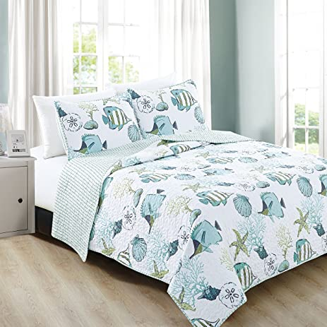 Amazon.com: 3-Piece Coastal Beach Theme Quilt Set with Shams. Soft ...