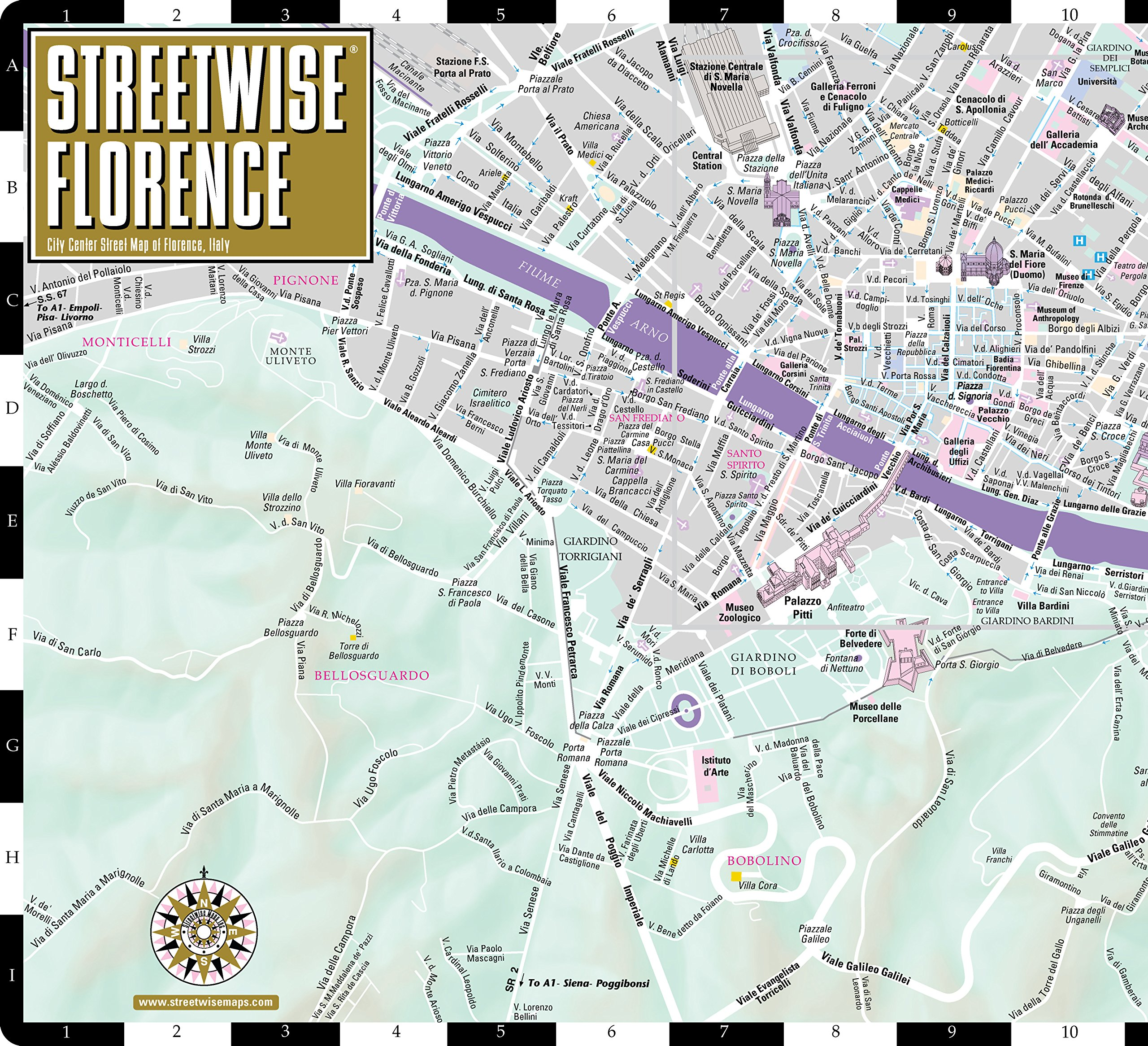 Streetwise Florence: City Center Street Map of Florence, Italy ...