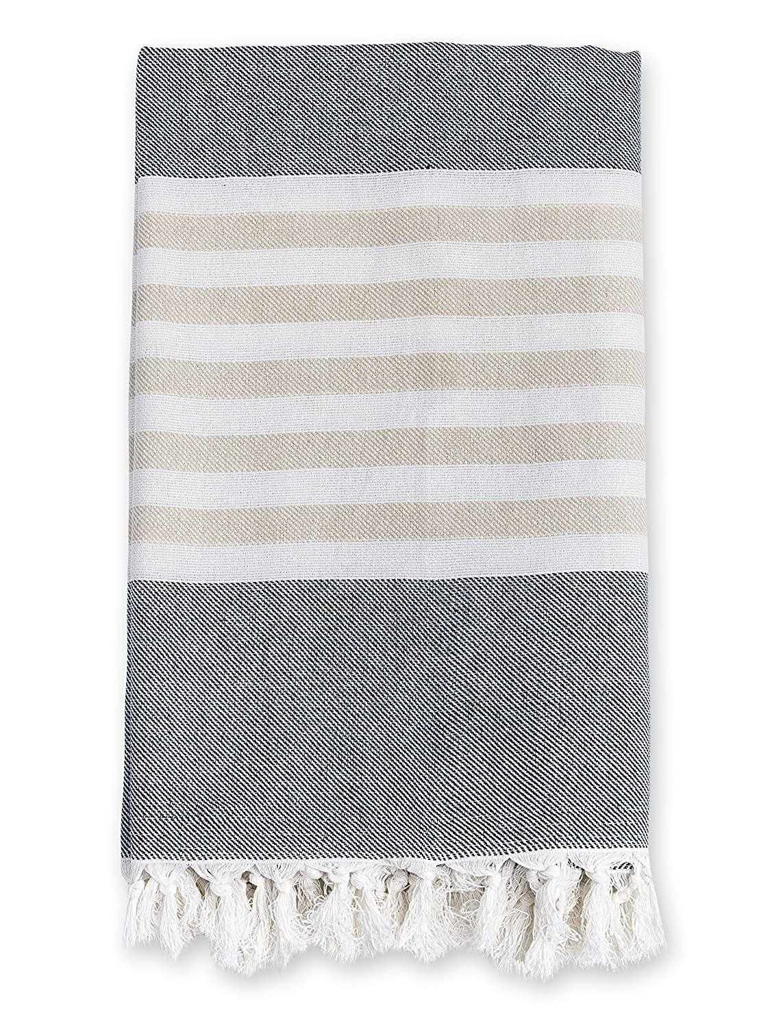 Lulujo Turkish Towel, Classic Navy and Oatmeal, Grey, One Size LJ701
