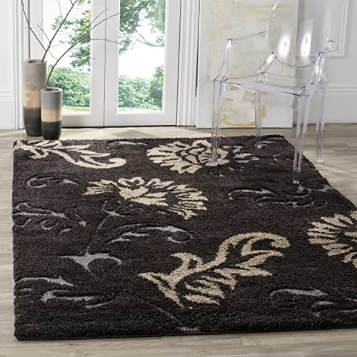 Safavieh Florida Shag Collection SG463-2879 Dark Brown and Smoke Area Rug 4 x 6