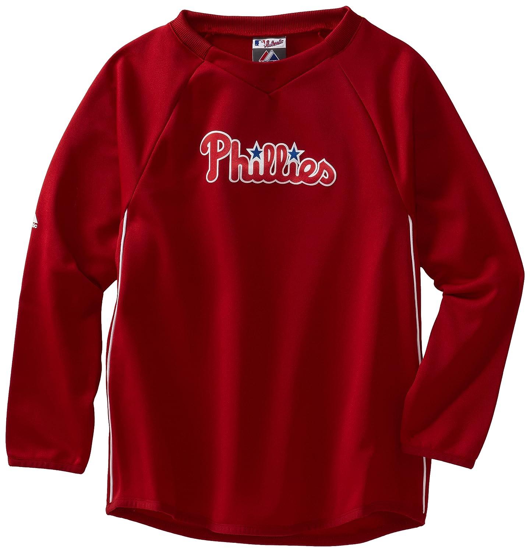 MLB Philadelphia Phillies長袖クルーネックThermabase TechフリースプルオーバーBoys ' Small Pro Scarlet/Pro White B006YFO9SO