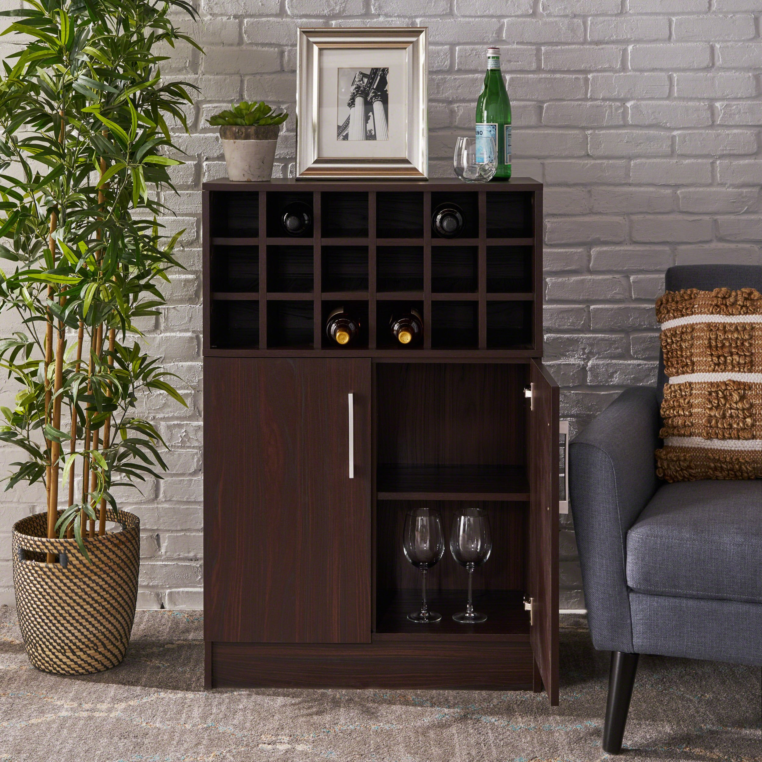 Rouche Mid Century Wine Cabinet | Perfect for Home Bar or Kitchen | Finished Faux Wood in Wenge by Christopher Knight Home