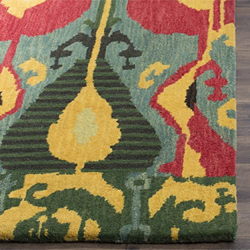 Safavieh Ikat Collection IKT222B Handmade Blue and Green Premium Wool Area Rug 5 x 8