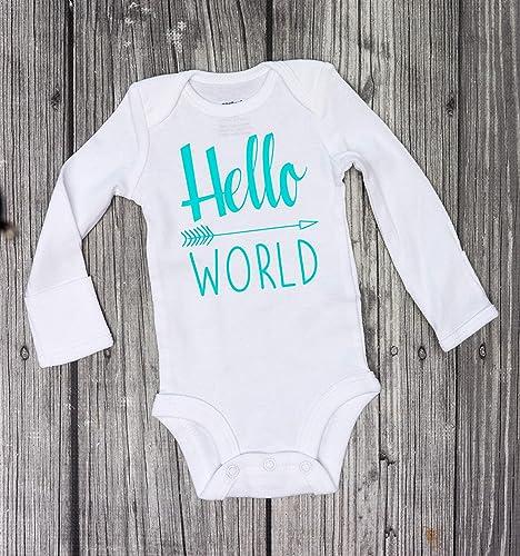 9f2165ef2 Hello World Bodysuit - Baby Bodysuit - Newborn Bodysuit - Coming Home Outfit  -baby girl bodysuit - baby boy bodysuit - babyshower gift - rainbow baby -  nicu ...
