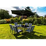 Kingfisher 8 Piece Navy Blue/White Padded Chairs x6, Glass Table & Parasol Garden Patio Furniture Set
