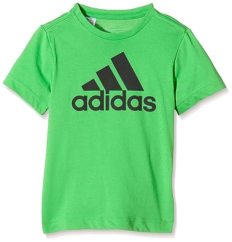 dbb1f1529cfed adidas YB ESS Logo Tee-T-Shirt-Garçon Vert Vert 140  Amazon.fr ...