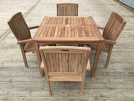 Romsey 4 plazas jardín - Juego de 4 sillas, madera maciza de ...