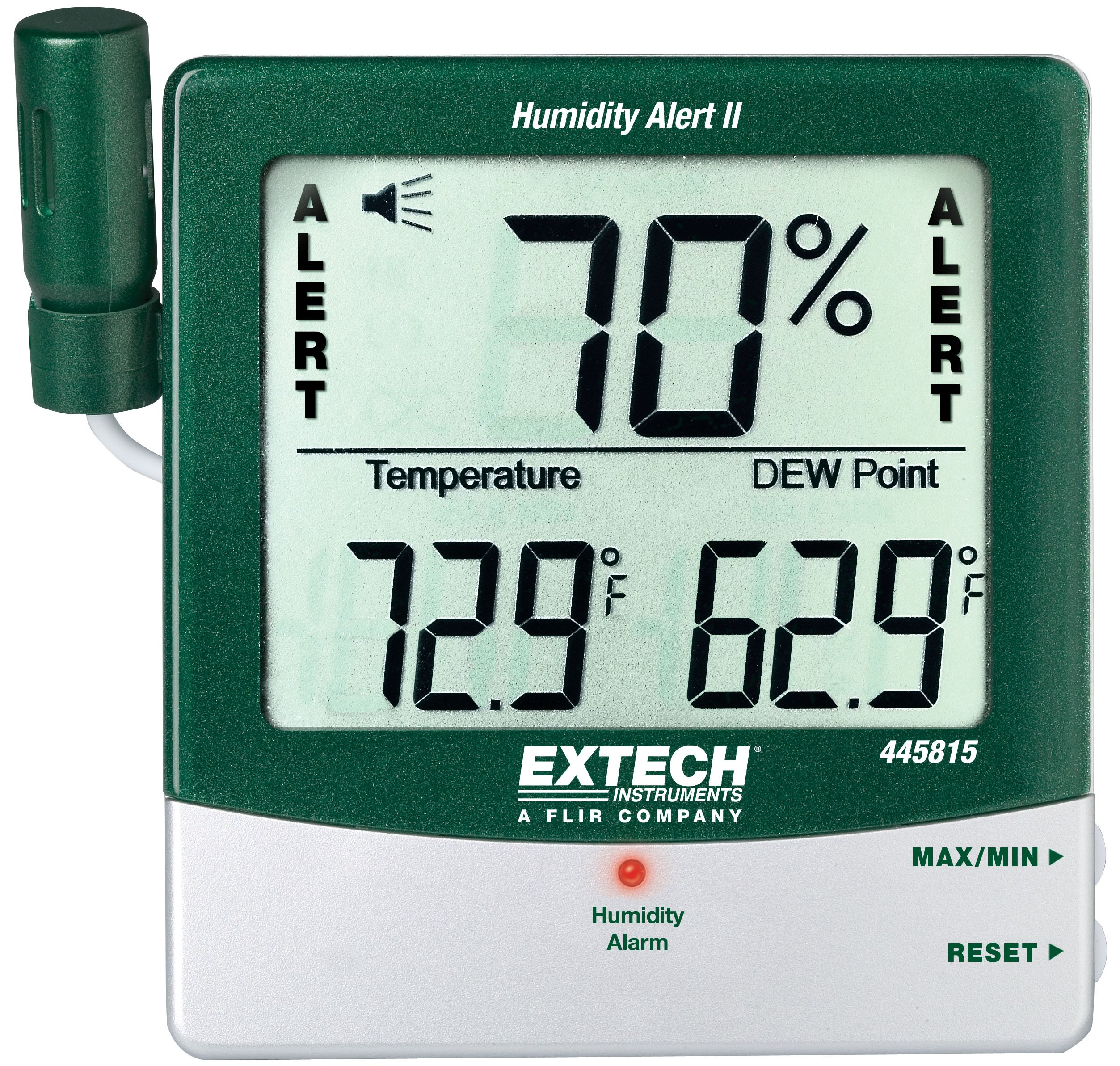 Extech 445815-NIST Hygro-Thermometer and Humidity Alert with Dew Point and NIST