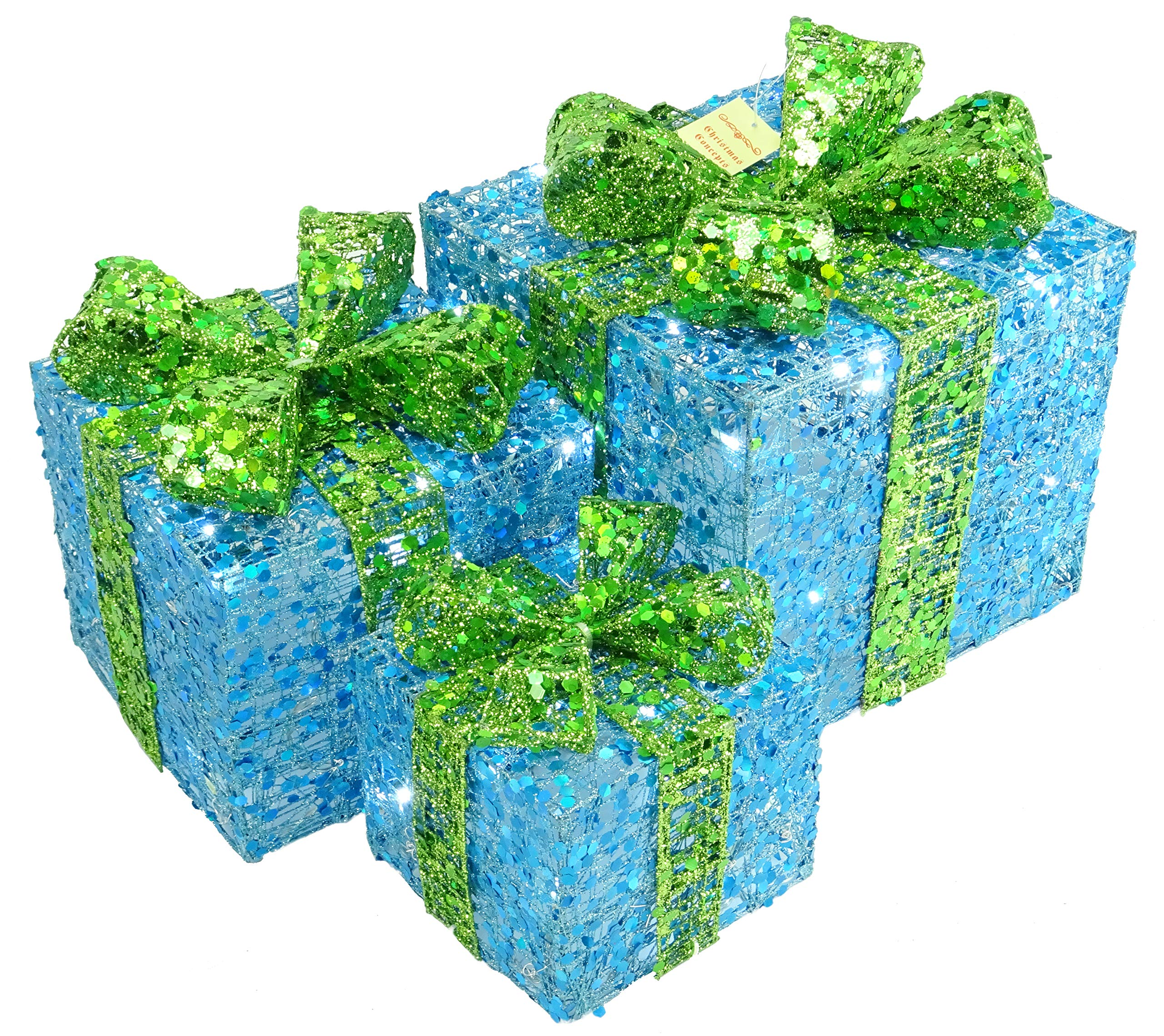 Christmas Concepts® Set of 3- Lime Green And Turquoise Sequin Decorated Christmas Light Up Parcel Set