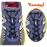 Yankz! SureLace No Tie Elastic Shoelace System with 2 Lock Adjustment - Locking Lace Replacement for Kids, Adults, and Senior Walking and Running Shoes (Black Laces - Black Locks)
