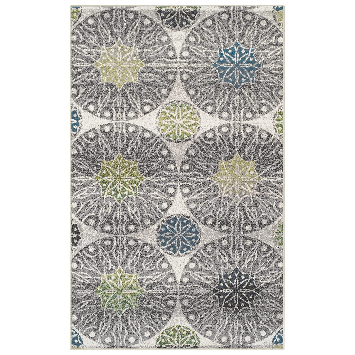 Modern Geometric Medallion Rosettes and Green Blue Black Grey Affordable Contemporary Rugs Superior Rosette Collection Area Rug 27 x 8 Runner 6mm Pile Height with Jute Backing