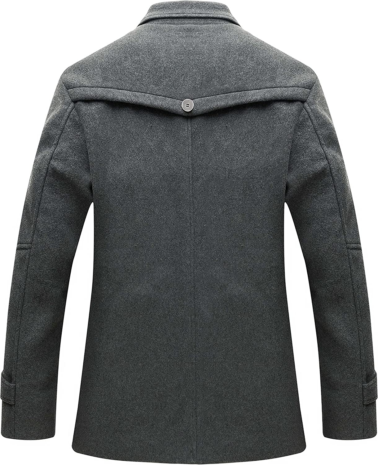 Nidicus Men Trench Coat Classic Military Style Wool Single Breasted Pea Coat