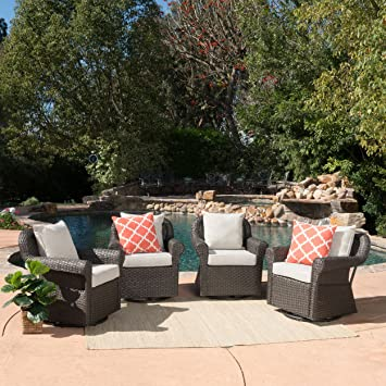 amazon com augusta patio furniture outdoor wicker swivel rocker