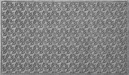 Bungalow Flooring Waterhog Doormat, 3 x 5 Made in USA, Durable and Decorative Floor Covering, Skid Resistant, Indoor Outdoor, Water-Trapping, Dogwood Leaf Collection, Medium Grey