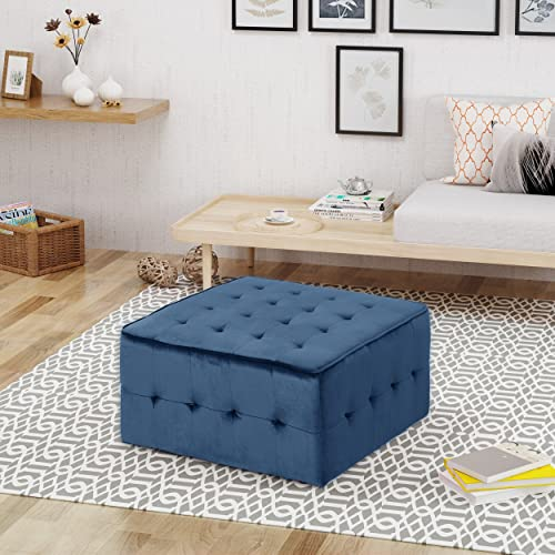 Christopher Knight Home Justin Glam Tufted Velvet Ottoman, Cobalt,