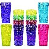 Set of 12 Party Tiki Cups! BPA Free 16 Ounce Tumbler Drinkware Set Luau Shape! 4 Bright Colors! Tiki Mugs! Reusable…