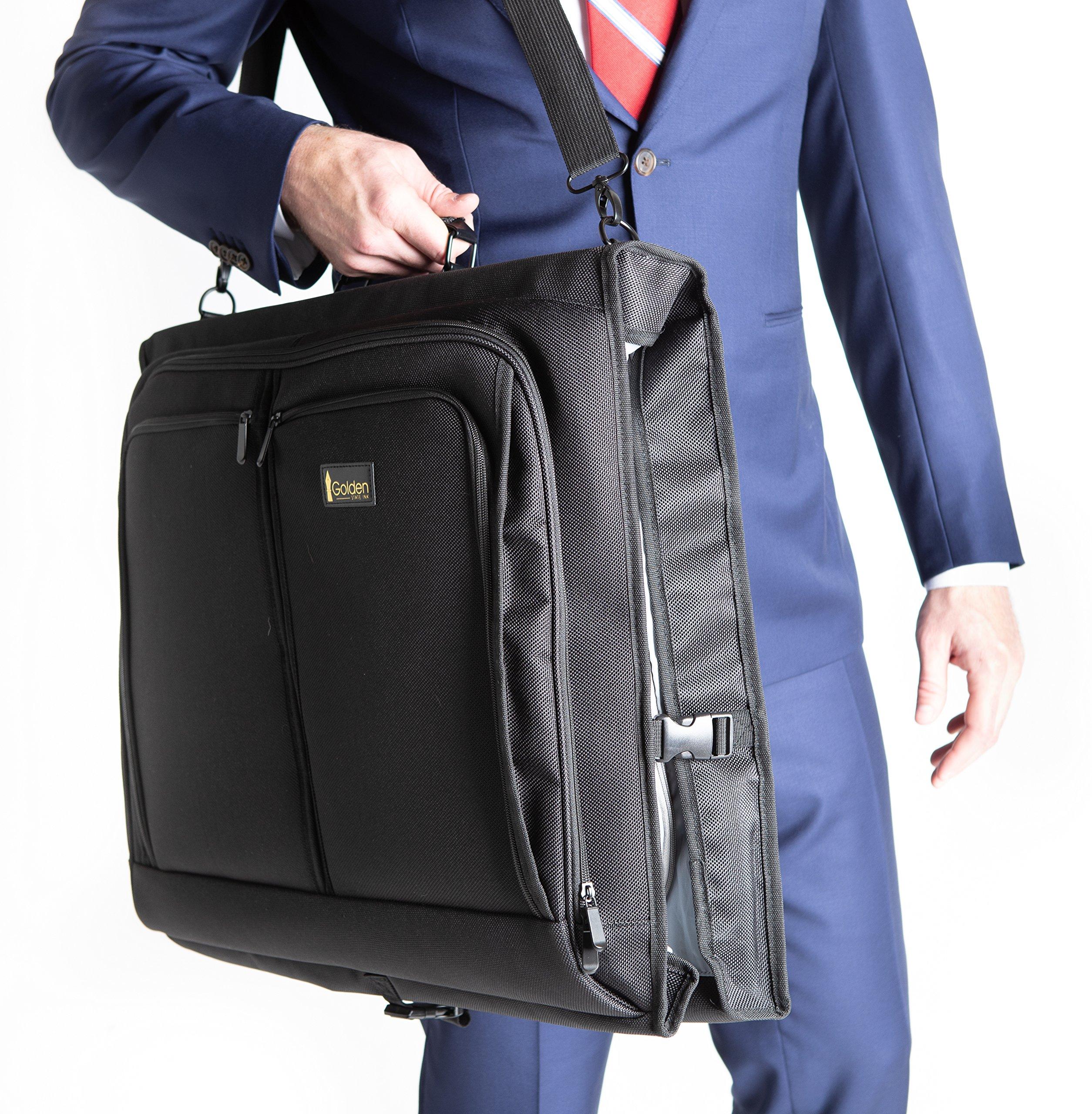 Best Garment Bag - Black Carry On Suit Bag Dress Bag for Travel & Business Trips -w/Hanging Hook & Shoulder Strap- for Men and Women - Folding Wardrobe Carrier Luggage by Golden State Ink by Golden State Ink