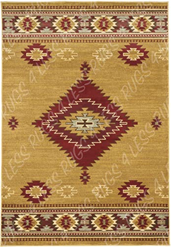 Rugs 4 Less Collection Southwest Native American Indian Area Rug Design Door Mat Area Rug R4L 219-60 Beige Berber Burgundy 2 X4
