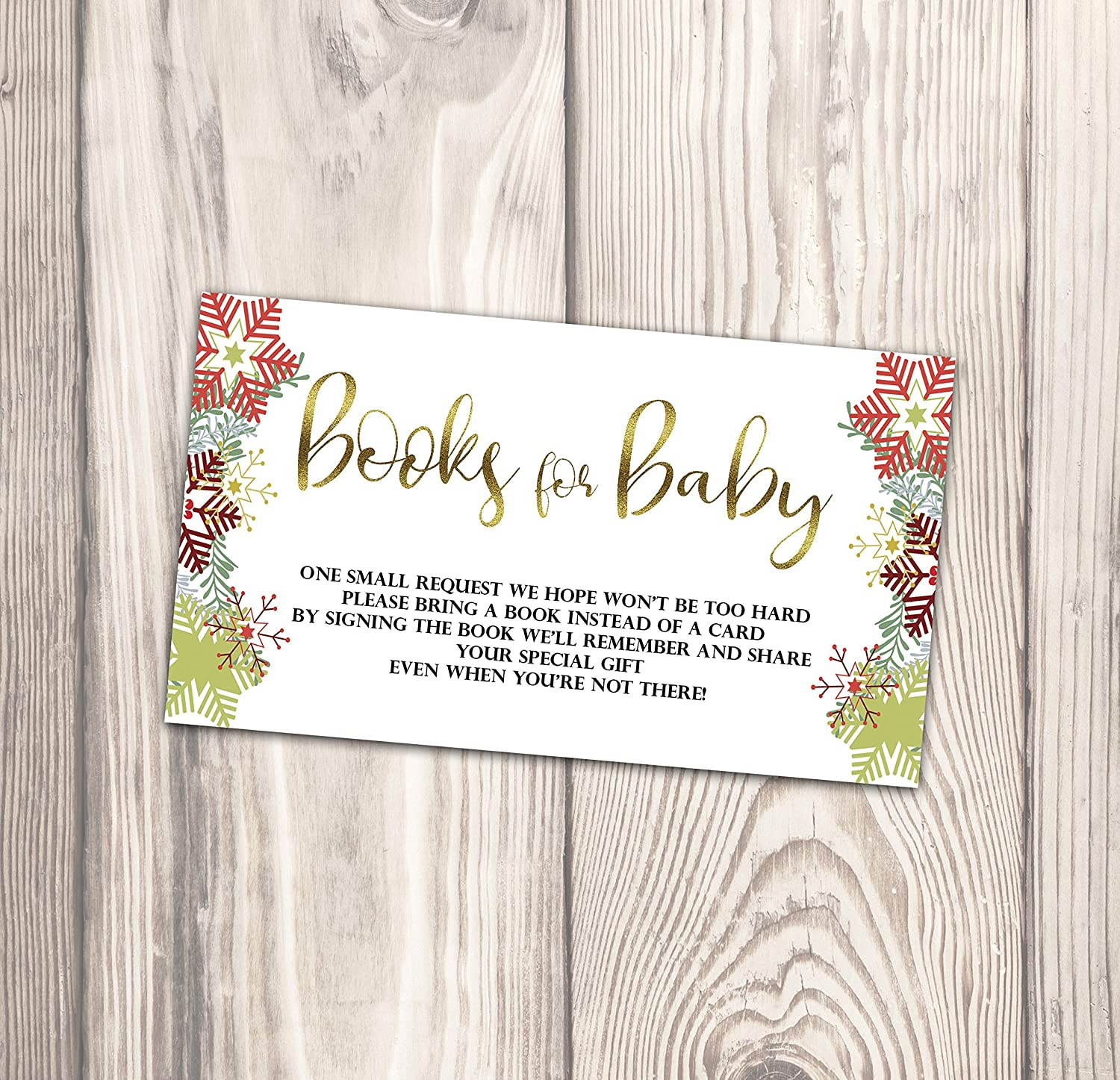 Amazon Com Christmas Baby Shower Book Request Card Snowflake Baby Sprinkle Book Instead Of Card Invitation Insert A Little 3 5 X 2 Inch Handmade