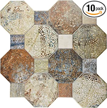 10 Piece 17.75 x 17.75 Beige//Brown//Grey//Blue//Green Tile SomerTile FCG18SXD Silema Ceramic Floor and Wall