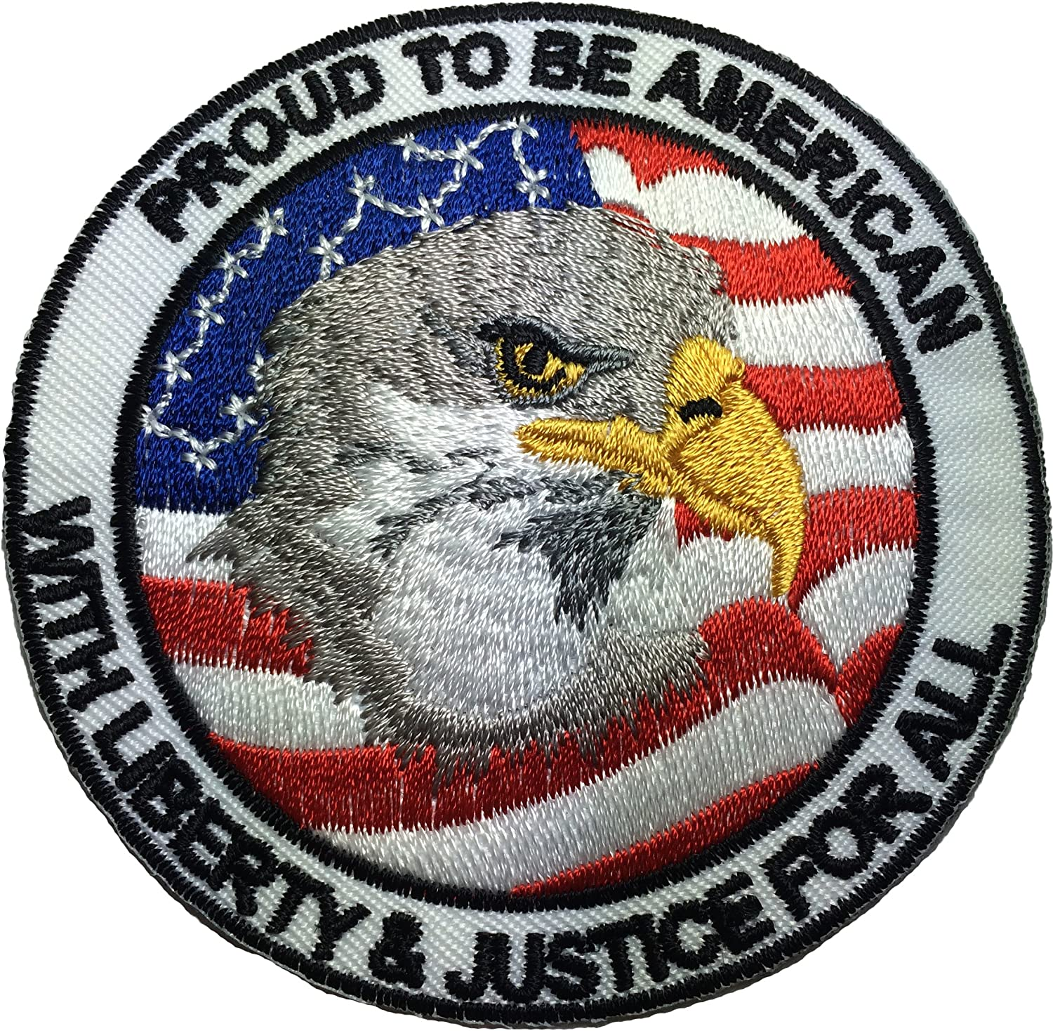 """PATCH /""""PROUD TO BE AMERICAN with Liberty and Justice for All/"""" 5 inch"""