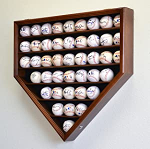 43 Baseball Ball Display Case Cabinet Holder Rack Home Plate Shaped w/98% UV Protection- Lockable –Walnut
