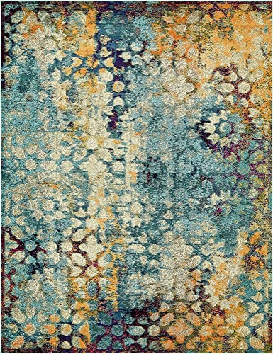 Unique Loom Vita Collection Traditional Over-Dyed Vintage Blue Area Rug 8 0 x 10 0