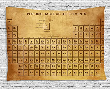 Ambesonne Science Tapestry Elements Chemistry Table Vintage Old Design For Scientists Student Print Wall Hanging For Bedroom Living Room Dorm 80 Wx