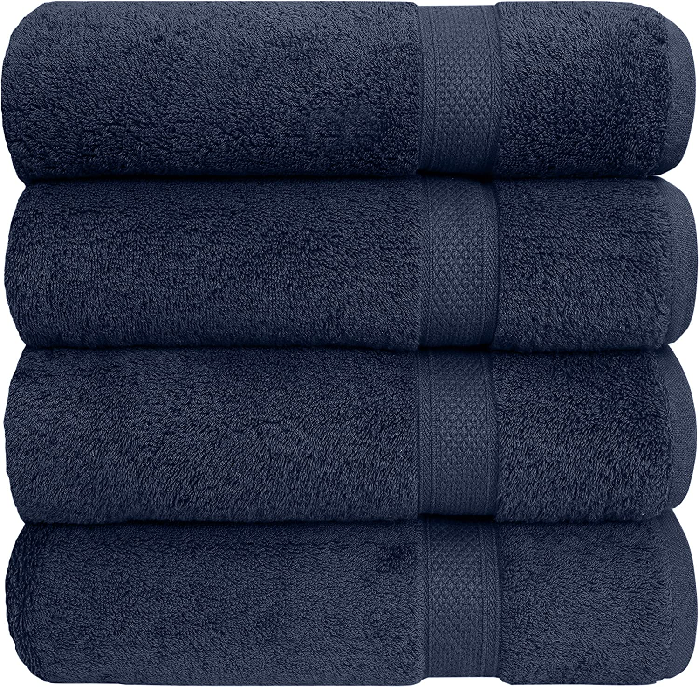 "Pleasant Home Bath Towels Set - 4 Pack – 27"" x 54"" - 100% Cotton - 600 GSM - Soft & Absorbent (Navy)"