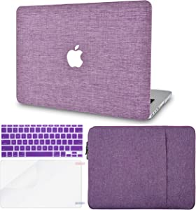 """KECC Laptop Case for MacBook Air 13"""" w/Keyboard Cover + Sleeve + Screen Protector (4 in 1 Bundle) Plastic Hard Shell Case A1466/A1369 (Purple Fabric)"""