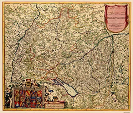 Amazon Com Old Germany Map Grand Duchy Of Baden De Wit 1688