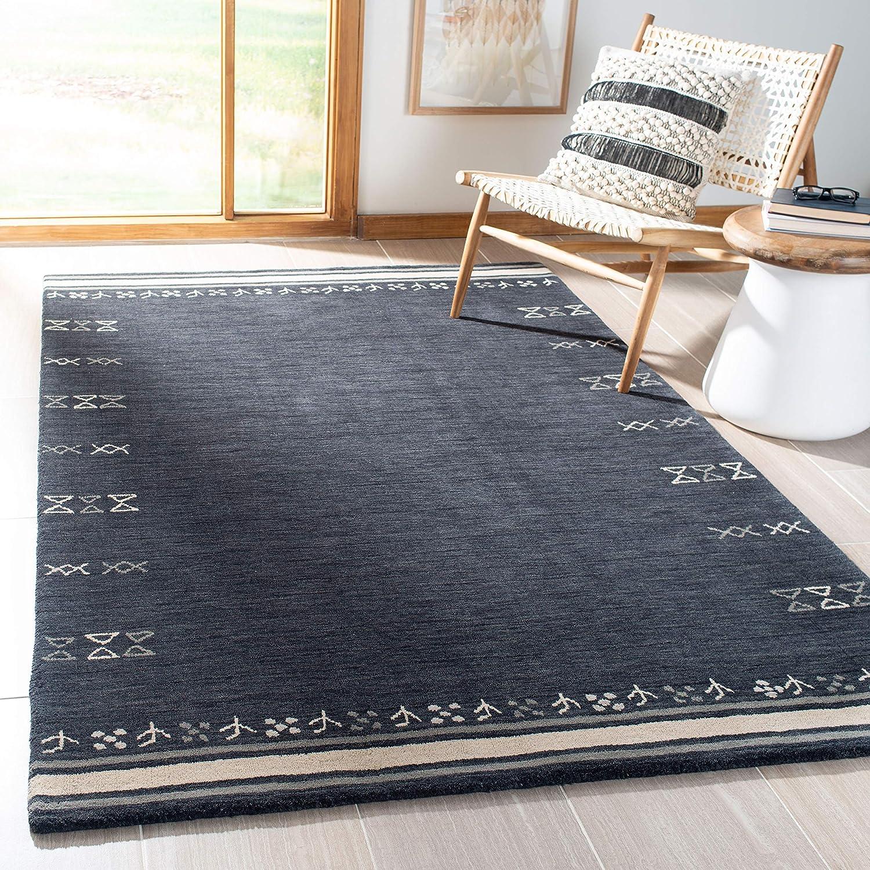 Amazon Com Safavieh Himalaya Collection Him597h Handmade Premium Wool Area Rug 6 X 6 Square Charcoal Furniture Decor