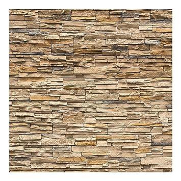 Fototapete | Steintapete Andalusia Stonewall   Vliestapete Quadrat | Tapete  Steinoptik Beige Braun | Vlies Wandbild