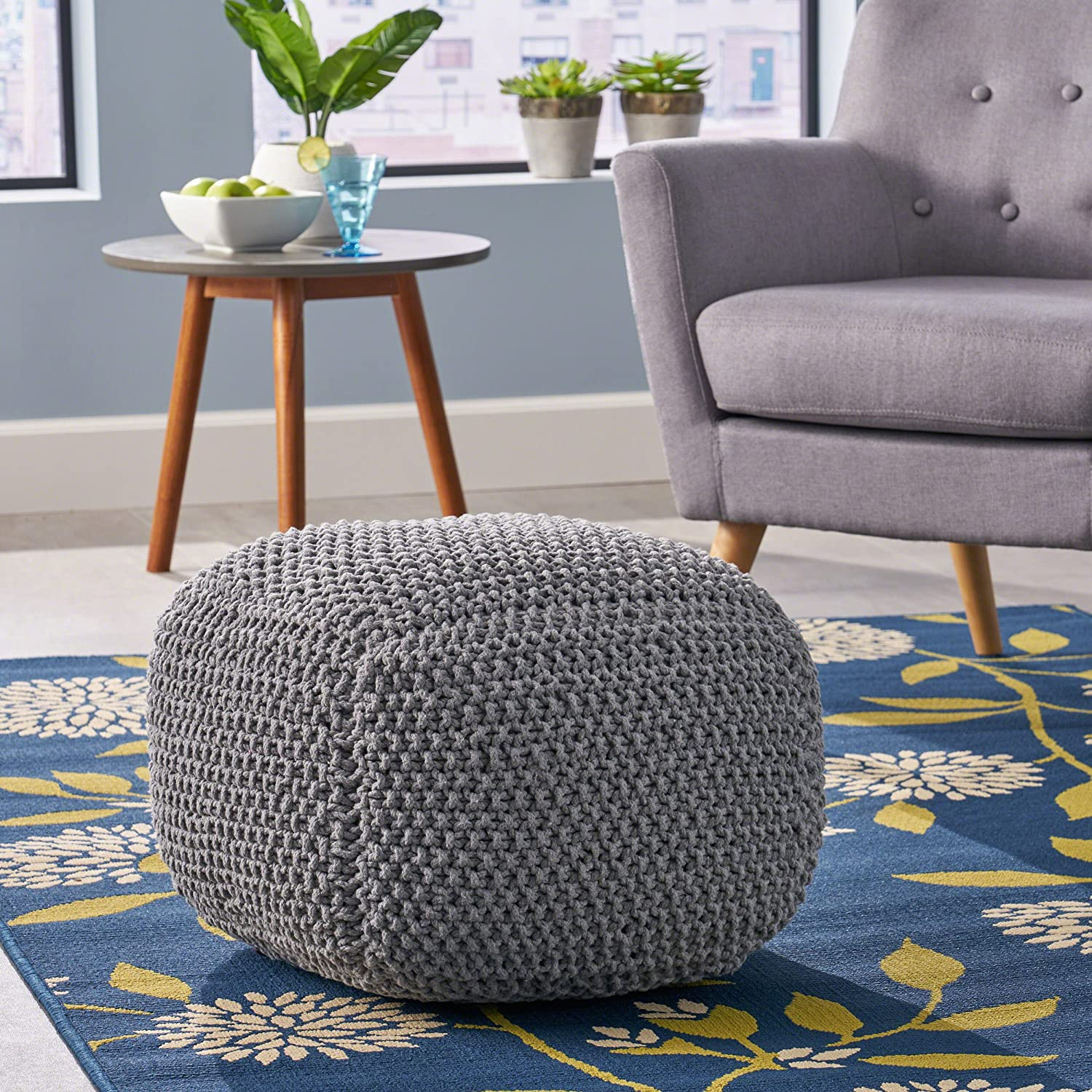 Teresa Knitted Cotton Square Pouf, Light Grey Great Deal Furniture