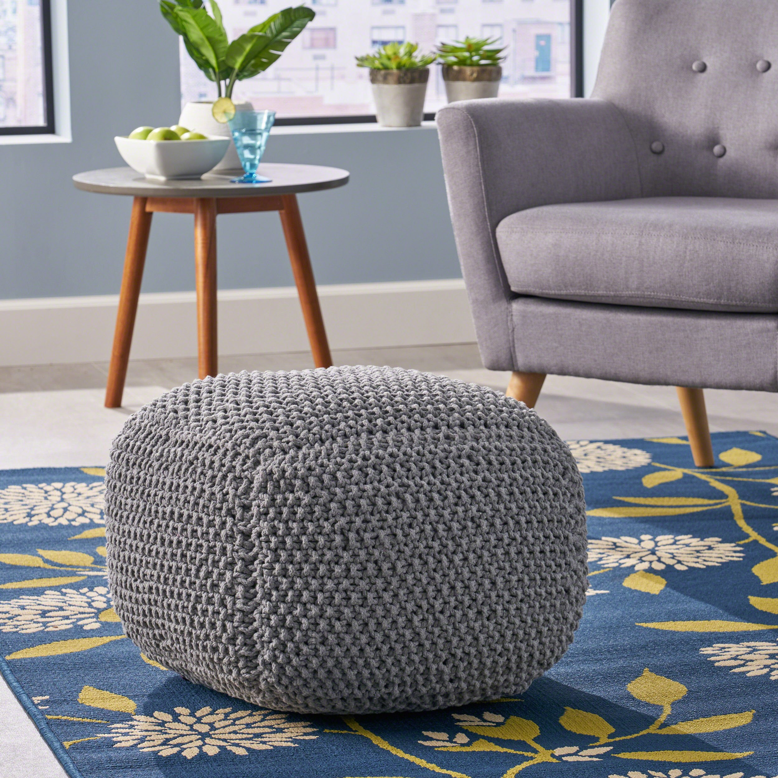 Teresa Knitted Cotton Square Pouf, Light Grey by Great Deal Furniture