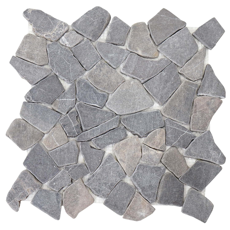 Mendler Carrelage en Pierre Vigo T687, marbre, Pierre Naturelle, mosaique, 11 pièces à 30x30cm = 1m² ~ Gris 11 pièces à 30x30cm = 1m² ~ Gris