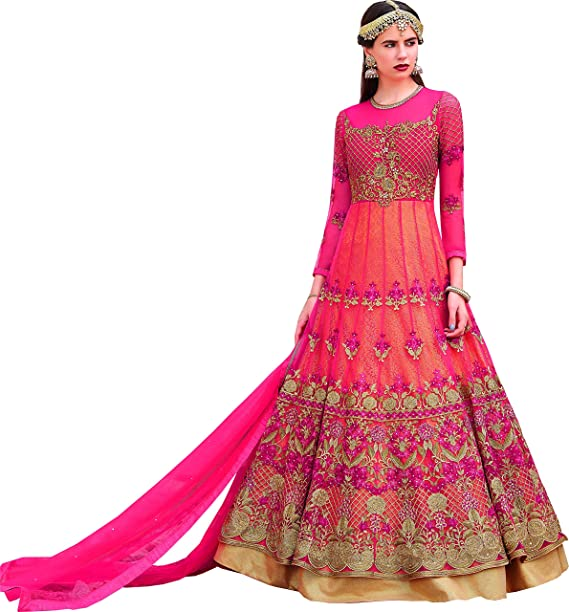 74eefac86d Ravishing Red Party Wear Anarkali Style Suit: Amazon.in: Clothing &  Accessories