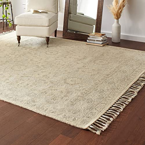 Stone Beam Heidi Floral Farmhouse Wool Area Rug, 8 x 10 Foot, Beige